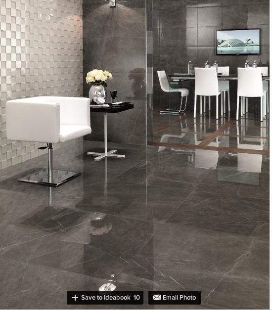 Grey Marble Floor Dining Room