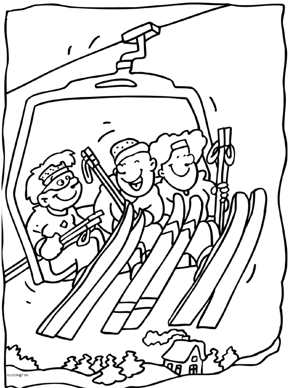 Kleurplaten Wintersport.Skilift Kleurplaten Wintersport En Skilift