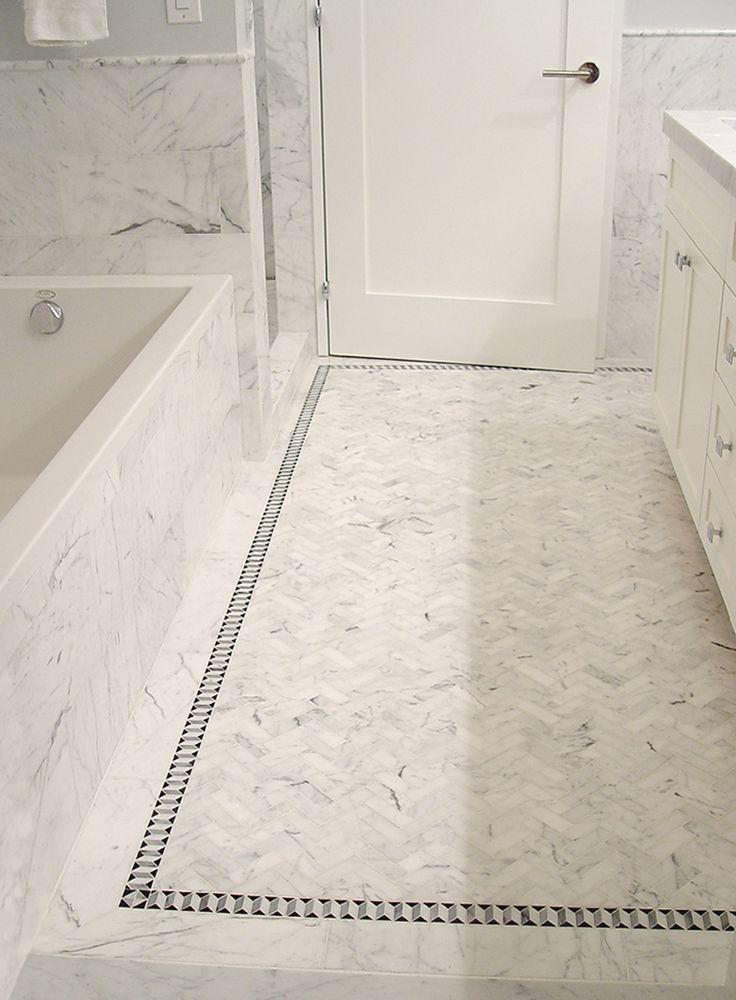 bathroom carrara herringbone floor Google Search