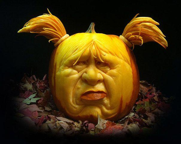 Llega hallowen, Ray Villafane frutas y verduras talladas