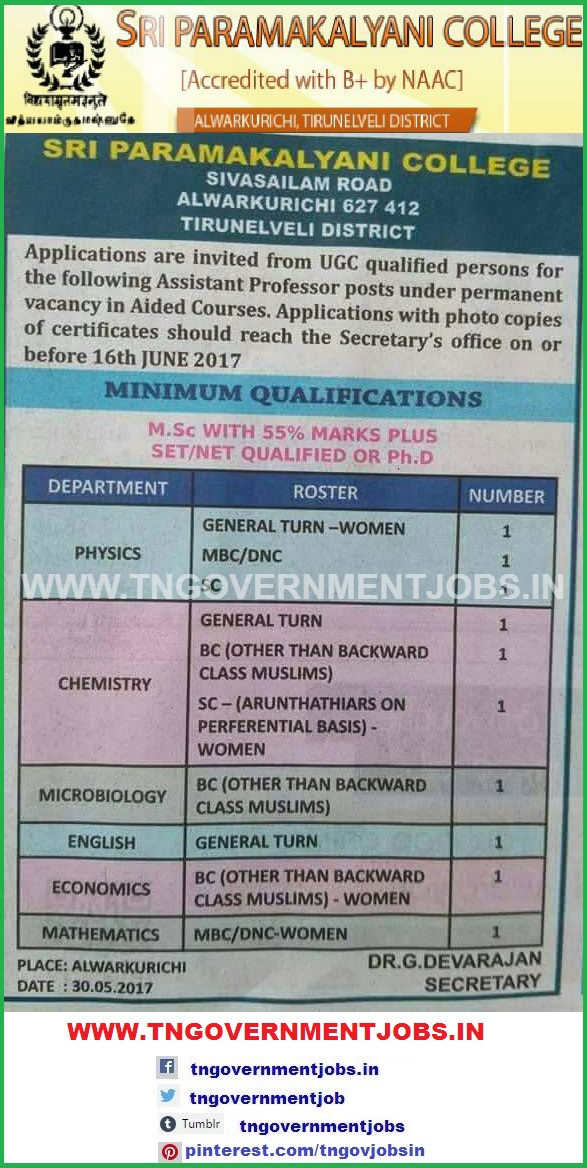Assistant Professor Jobs In Tirunelveli Govt Aided College Spkc