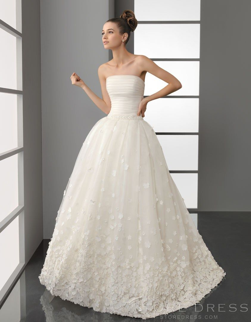 Wedding dress pin up train  Classic Aline Strapless Strapless Appliques Wedding Dress