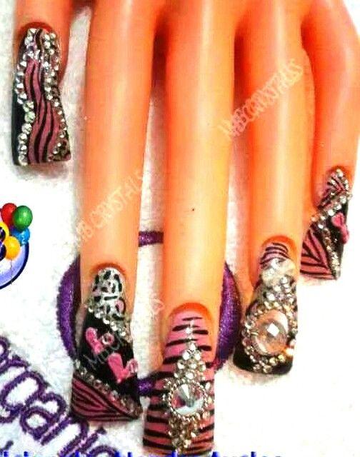 Uñas estilo Sinaloa. Rosas. Acrilic nails | Nail\'s | Pinterest