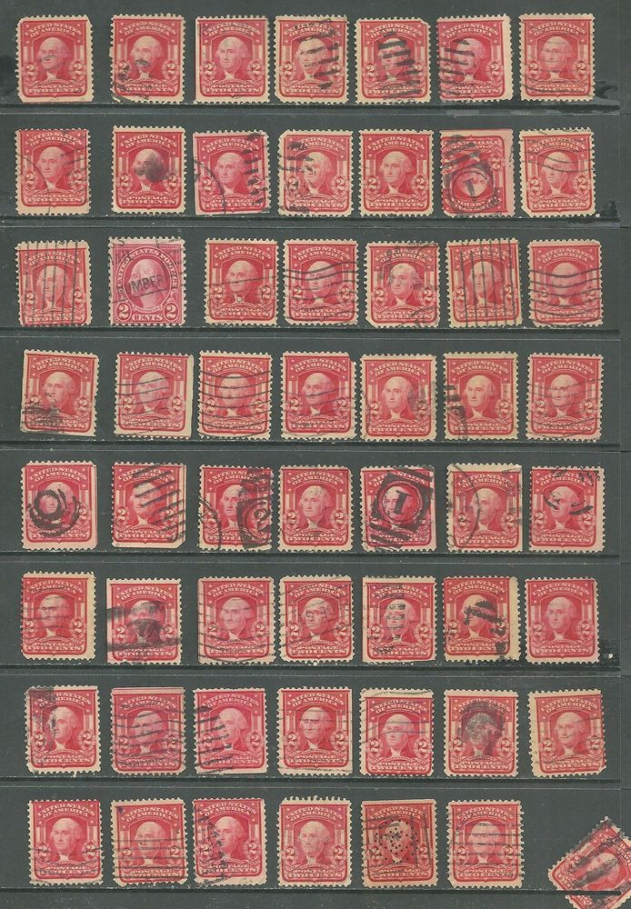 US 1903 Definitives collection of 56 stamps # 319 - 2¢ Washington - carmine