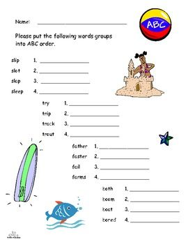 Abc Order Using First Two Letters There Are  Groups Of Words