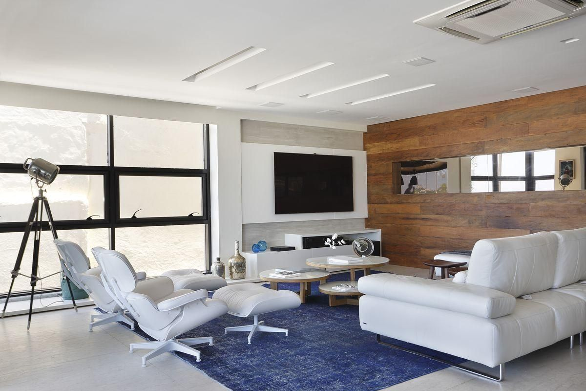 Projeto Arquiteta Leila Dionizios Decora O De Sala De Estar Com  -> Decoracao De Sala De Tv Com Sofa Azul