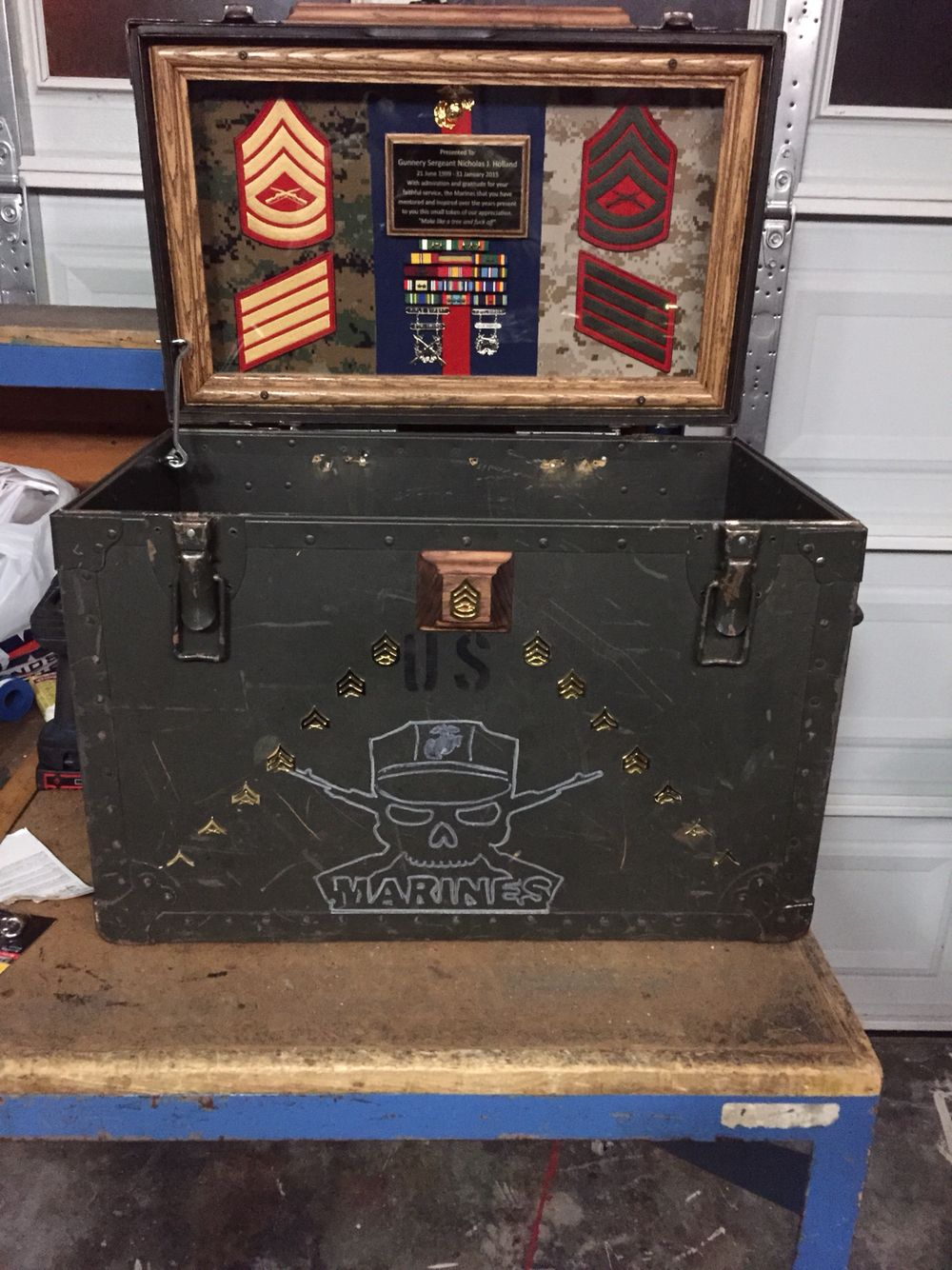 usmc military shadow box plaque for a gunnery sergeant who got out of the marine corps