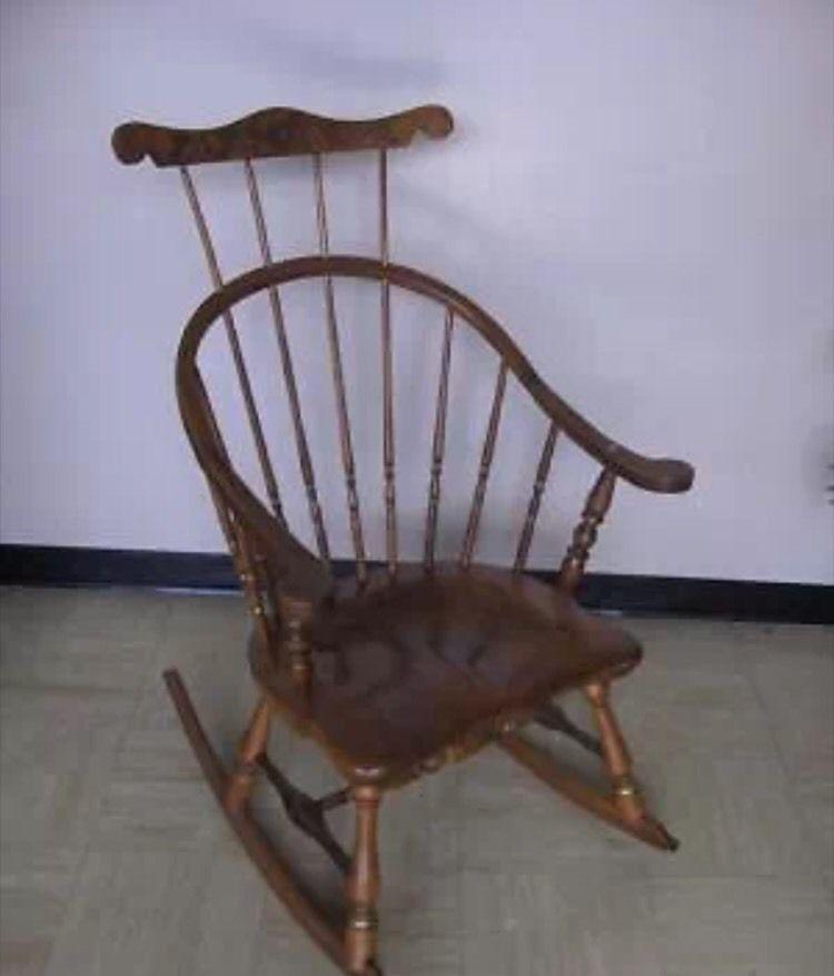 Vintage Ethan Allen Heirloom Maple HIGH BACK Nutmeg Rocker Rocking Chair