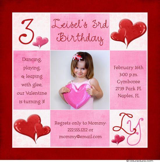 Single Photo Valentine Birthday Invitation Red Pink Heart Girl – Birthday Invitation Cards for Baby Girl