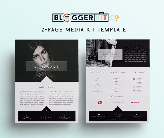 TwoPage Media Kit Template Press Kit Template By Bloggerkitco  Epk