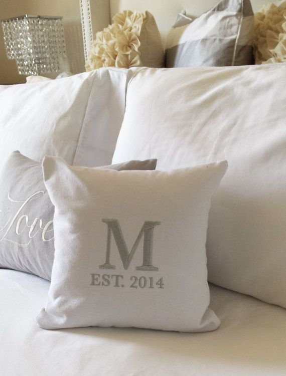 Monogram Throw Pillow Cover Gray Gold Or By Itsnotbusinessshop Embroidered Throw Pillows Monogram Pillows Pillows