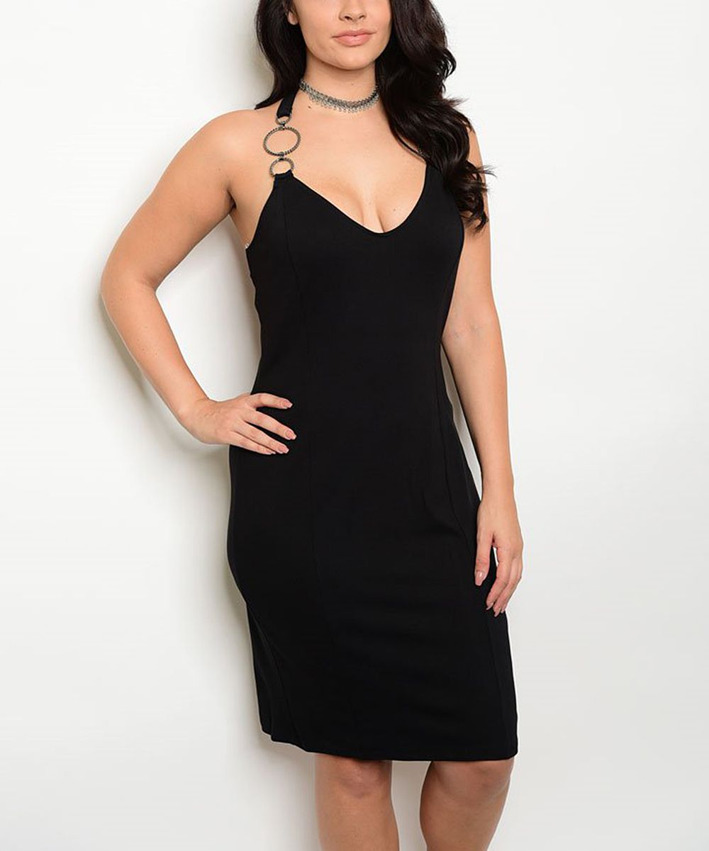 Black Halter Dress - Plus | Products | Dresses, Plunging ...