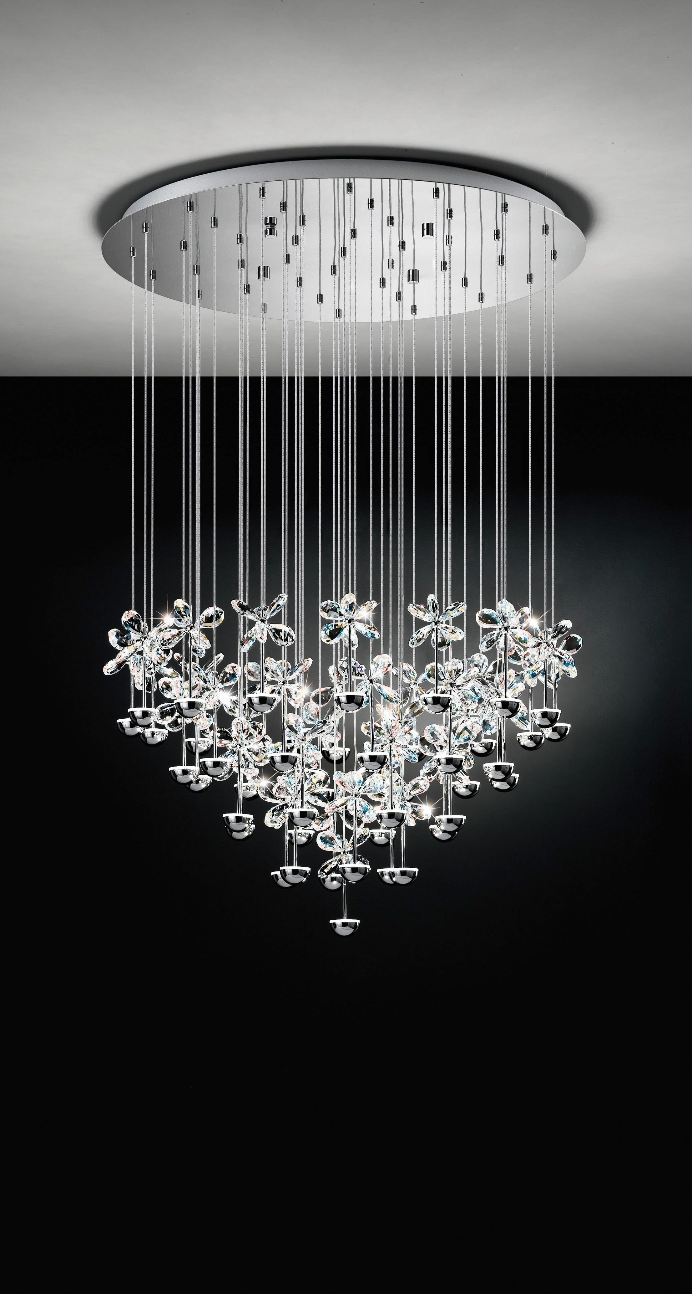 Eglo LED Chandelier / Pianopoli / Flower-Shaped Clear Crystal Glass ...