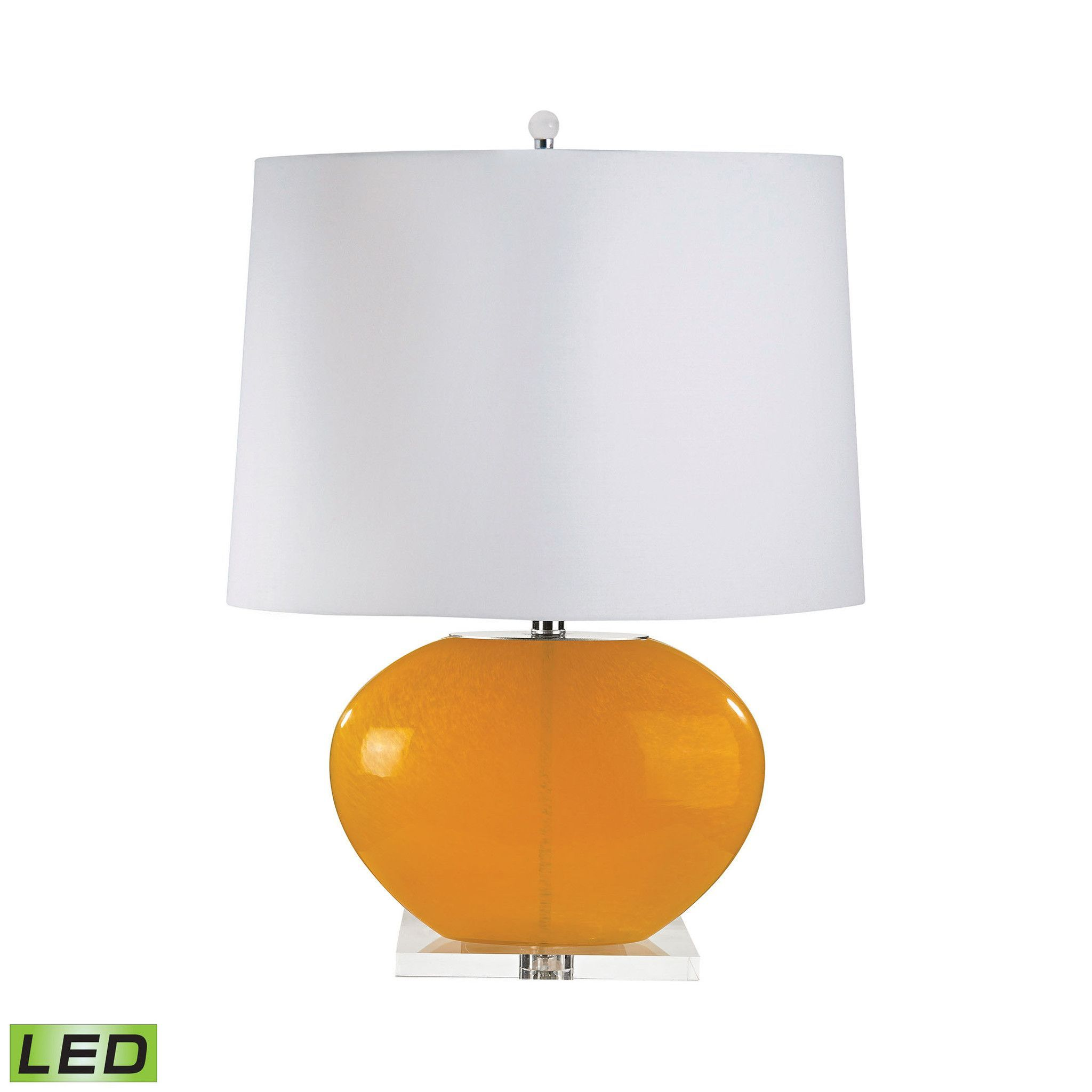 Lamp Works Blown Glass Oval LED Table Lamp In Orange - Set of 2 319-LED