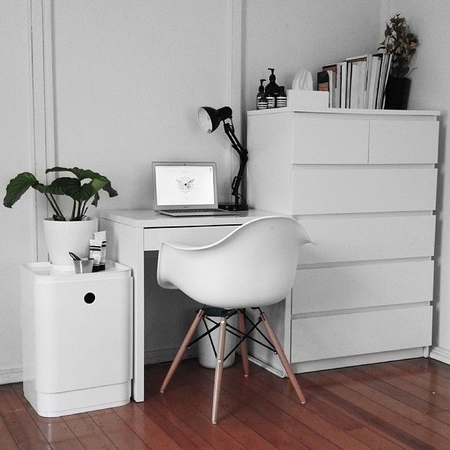 White desk chair, dresser, and cabinet Re-arranging my room makes