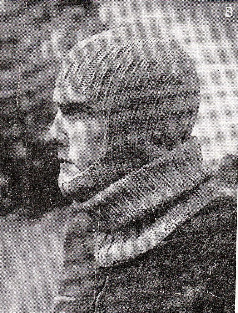 Vintage Knitting Patten Mens WWII Service Balaclava 1940\'s LARGER ...