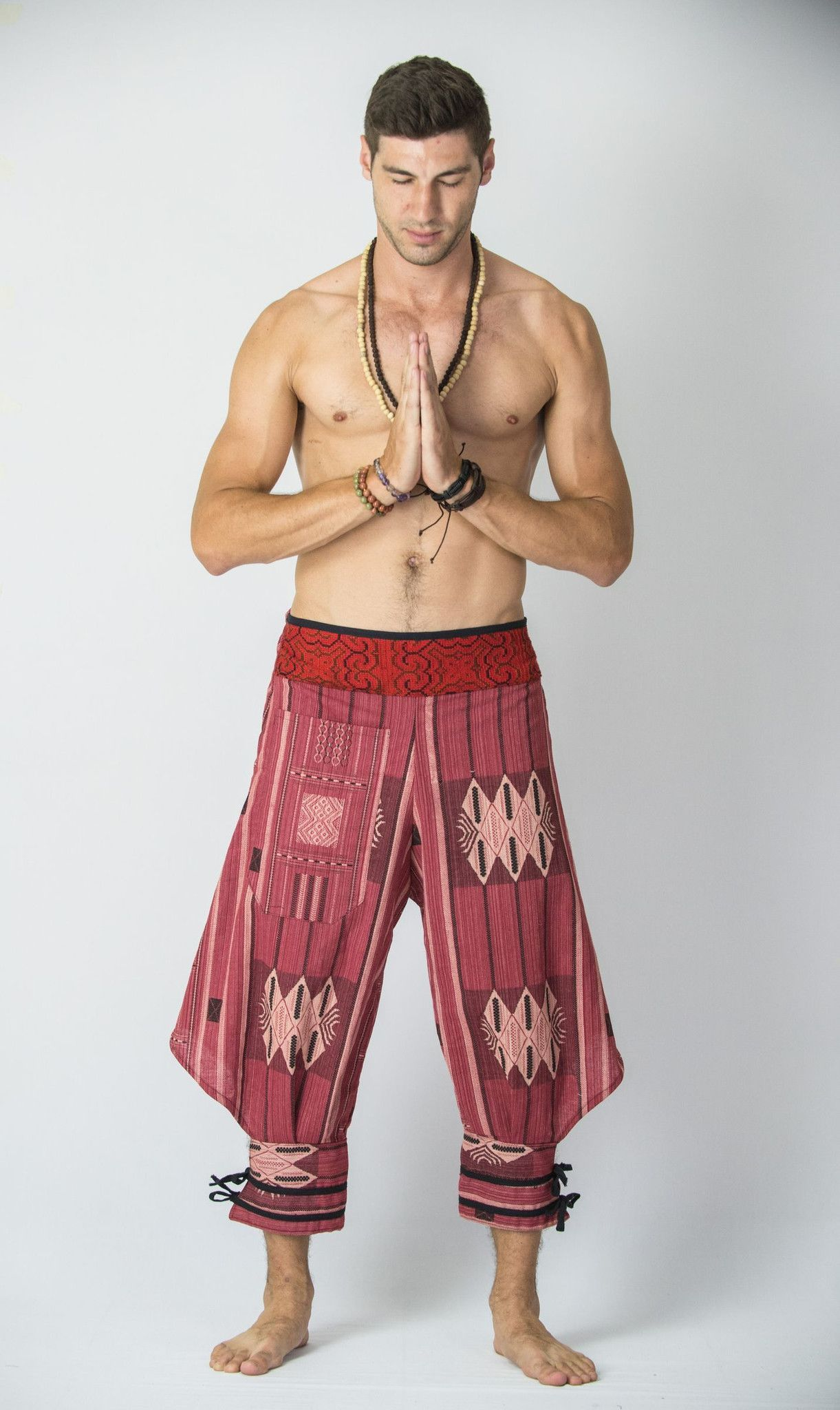 Thai Hill Tribe Fabric Men Harem Pants with Ankle Straps in Red ...