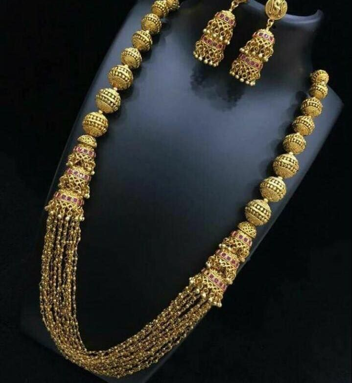 a59d2333d Traditional & Ethnic One Gram Gold Plated Designer Long chain Set with  Earring for Women & Girls .Whatsapp 6025165110 for details.