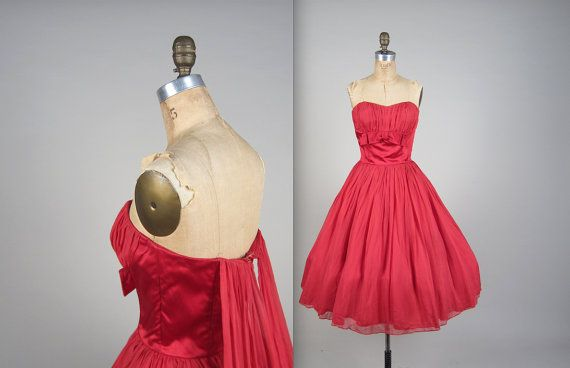 1950s saucy strapless party dress vintage by MintageClothingCo