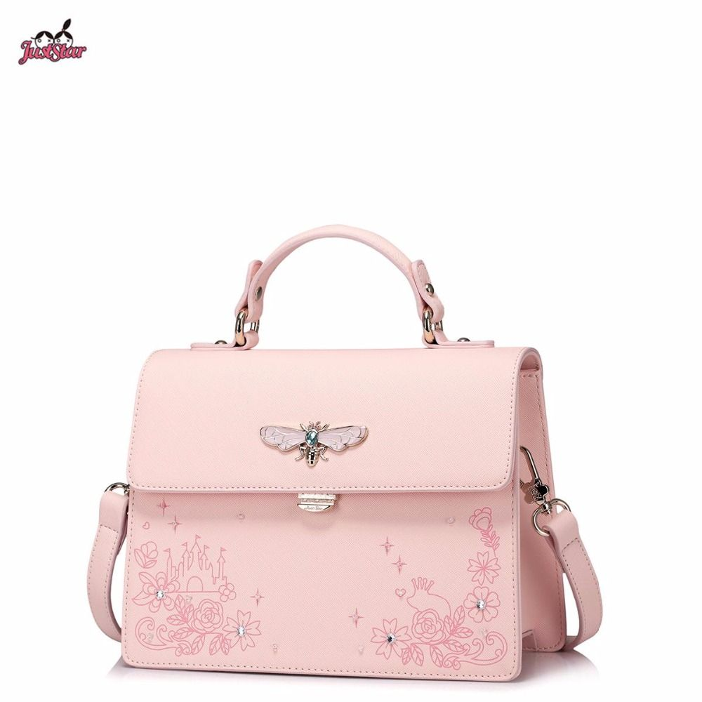 Just Star Brand Design Fashion Printing Diamonds Hardware Insect Pu Leather Women Handbag S Las Shoulder