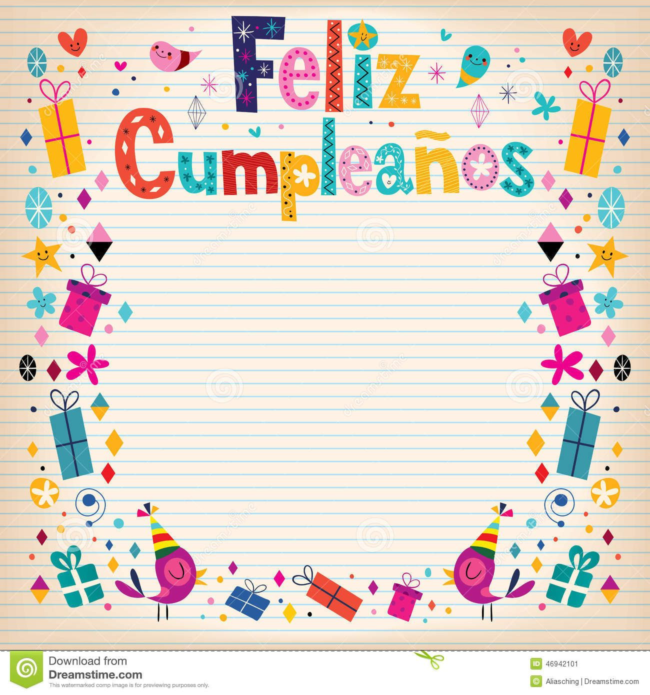 Feliz Cumpleanos - Feliz Cumpleaños En Tarjeta Retra De Papel ...