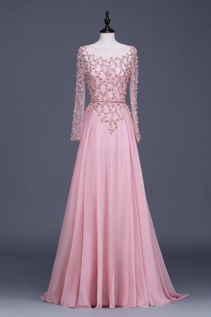 Vintage prom dress pink tulle long sequins prom dress with sleeves