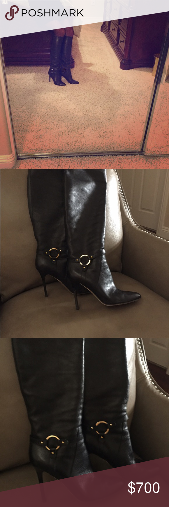 Jimmy Choo leather knee high buckle boot Almost new Jimmy Choo buckle boot Jimmy Choo Shoes Heeled Boots