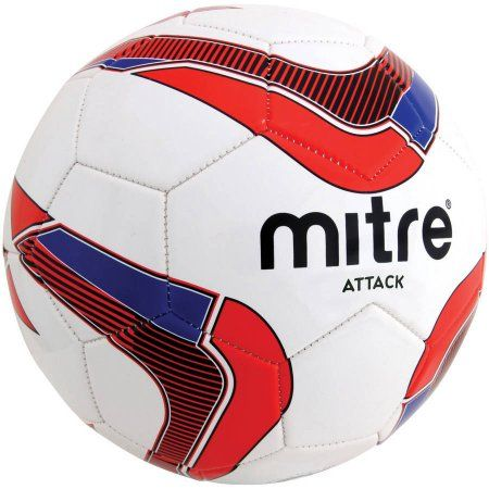 Mitre Attack Soccer Ball Deflate, White/Red/Blue