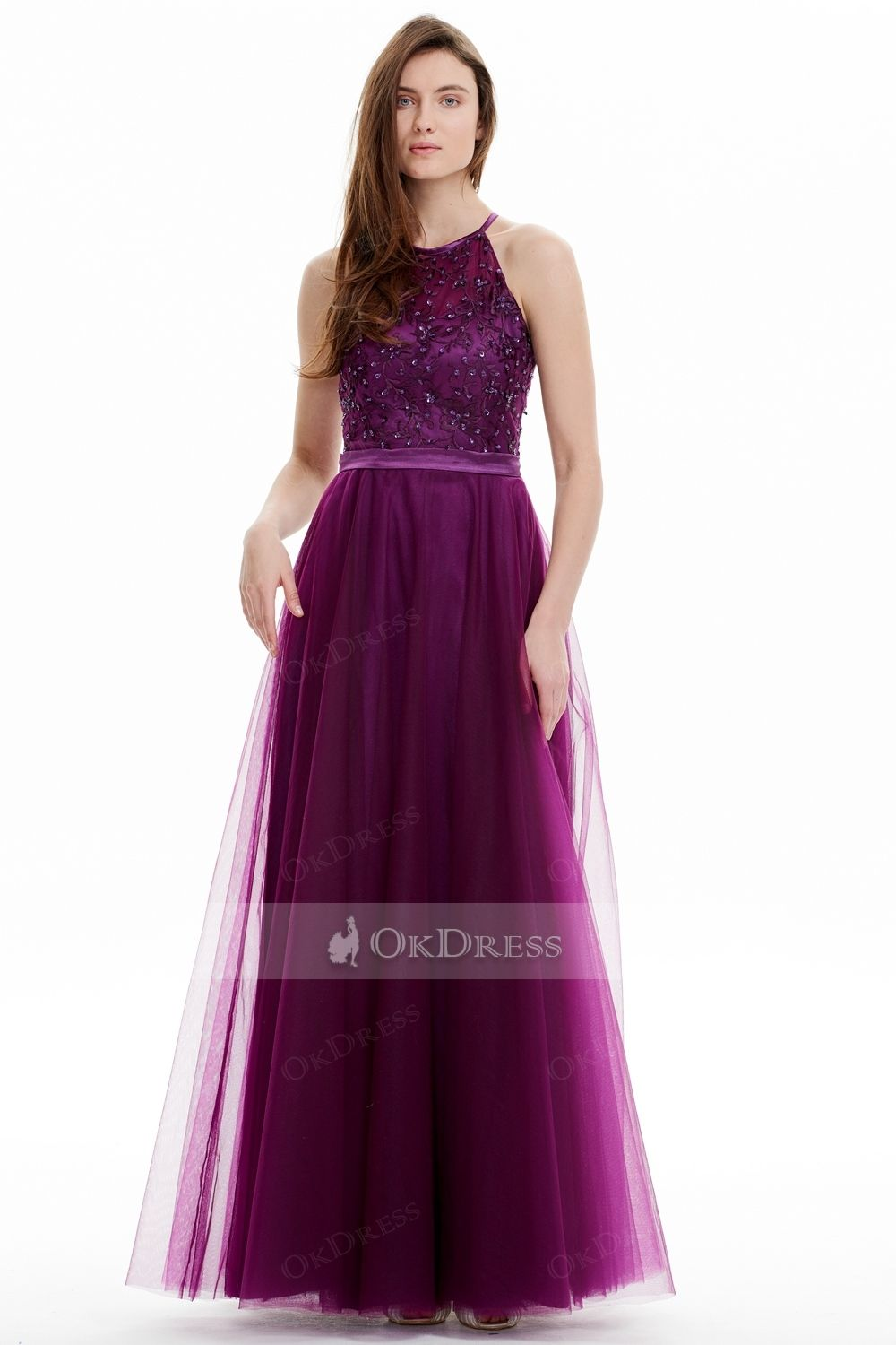 Okdress long embroidered halter top prom dress sale by okdress uk