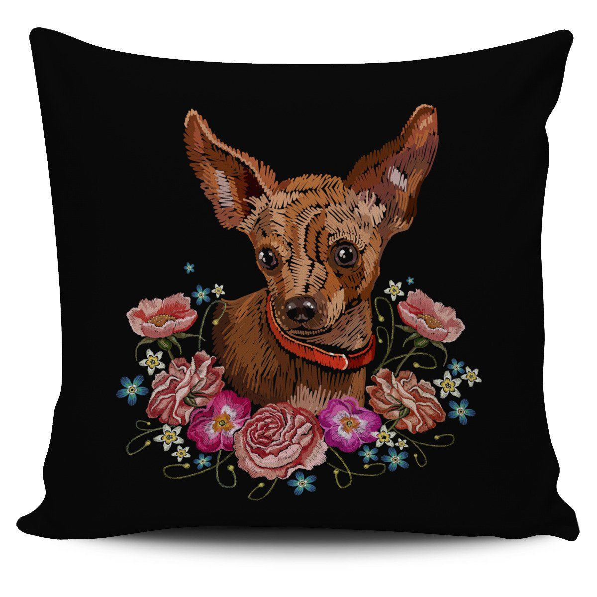 Embroidery Chihuahua Pillow Cover Pillow covers