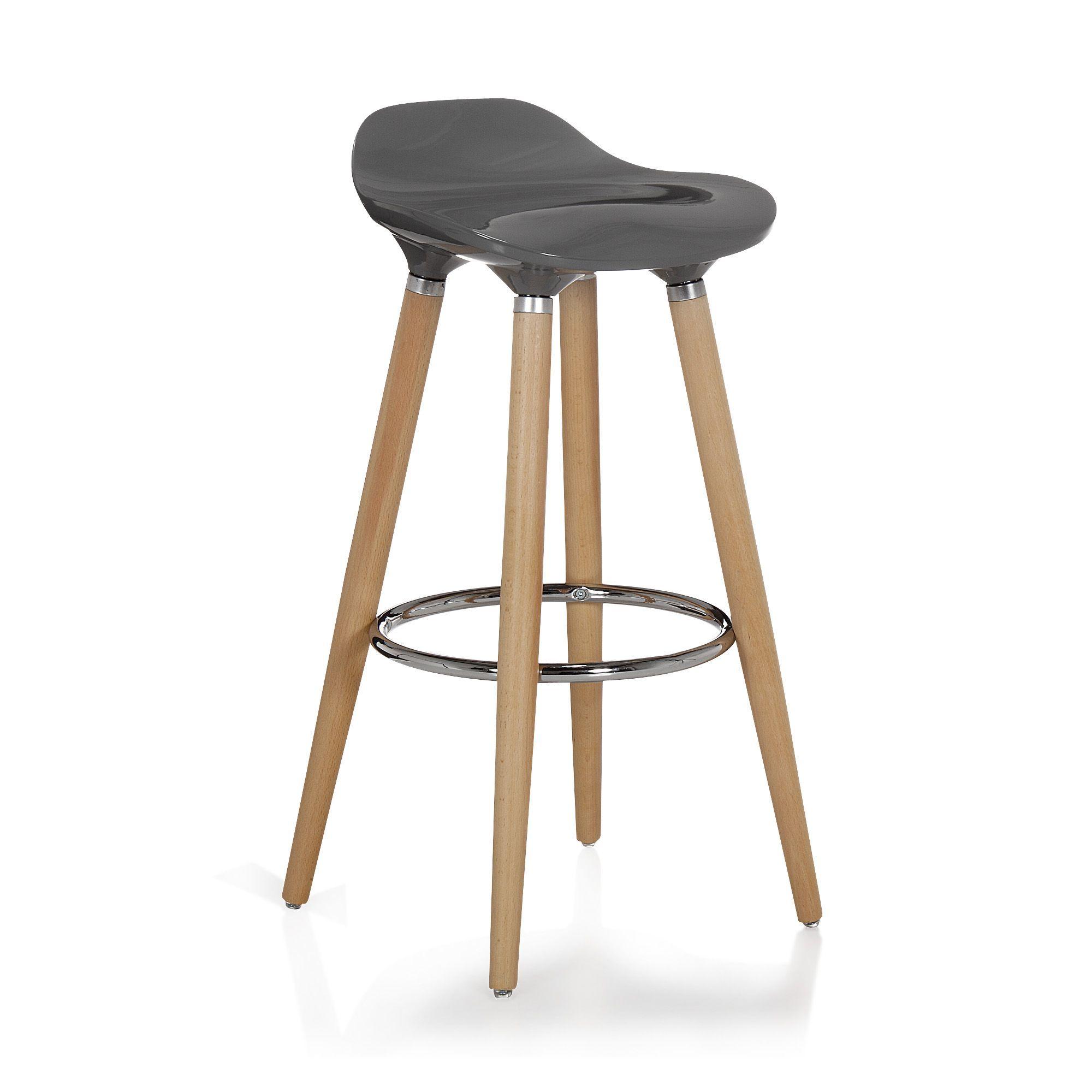 tabouret de bar gris avec pieds en h tre massif jade. Black Bedroom Furniture Sets. Home Design Ideas