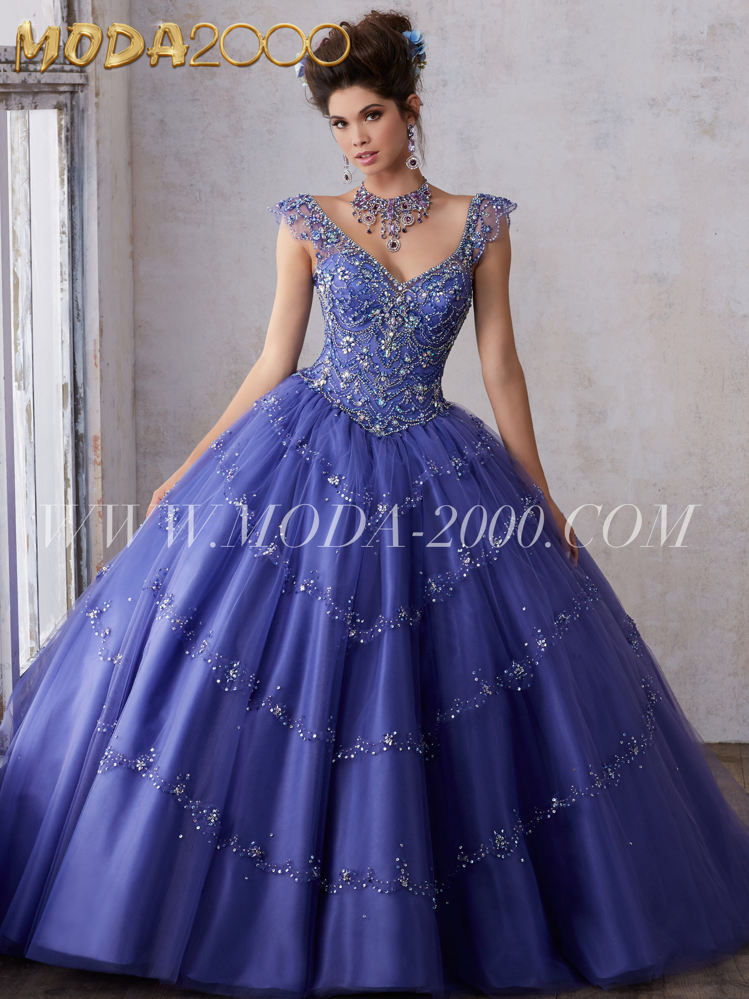 Ball Gown Illusion Boat Neckline Open Back Purple Tulle Beaded ...