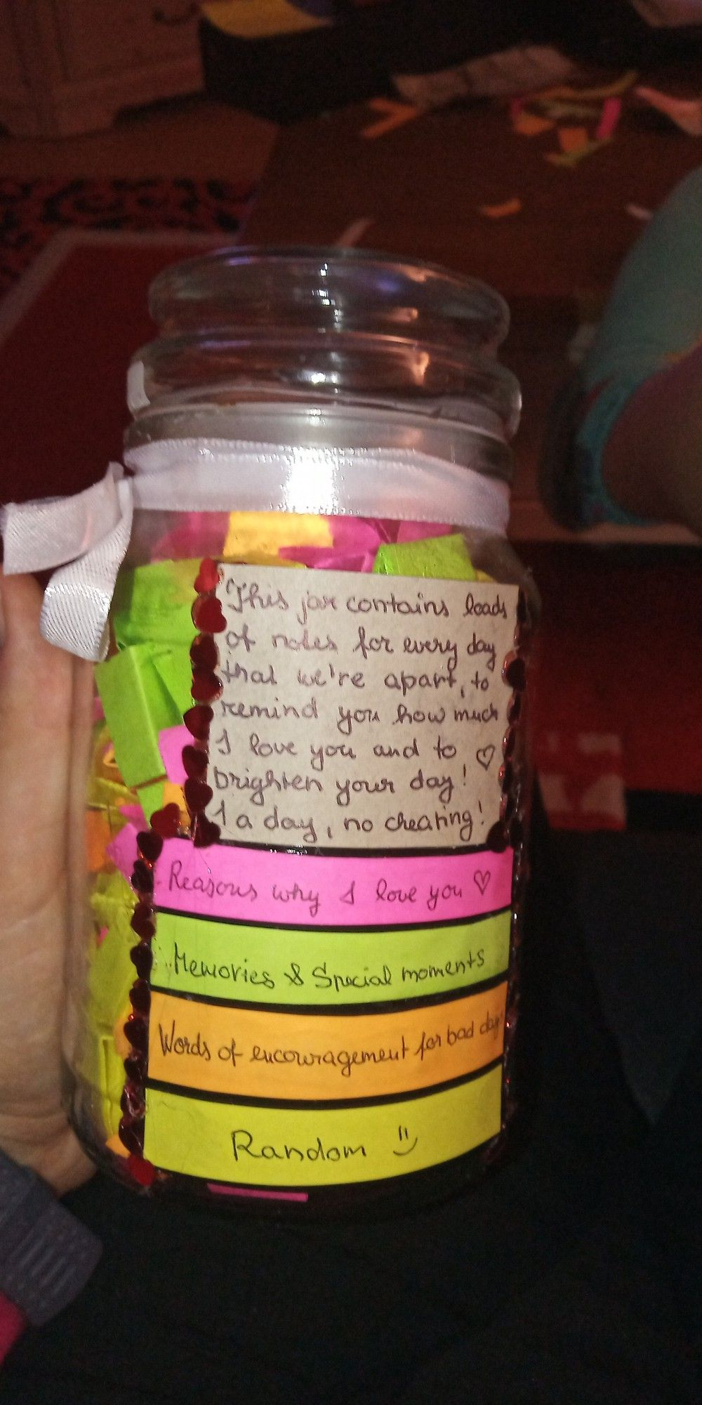 Distance Jar Full Of Notes To Brighten Up My Significant Other S Days Jar Of Notes Message Jar Jar Gifts