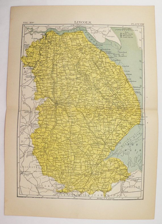 Antique Lincolnshire England Map 1894 Vintage Map Lincoln England