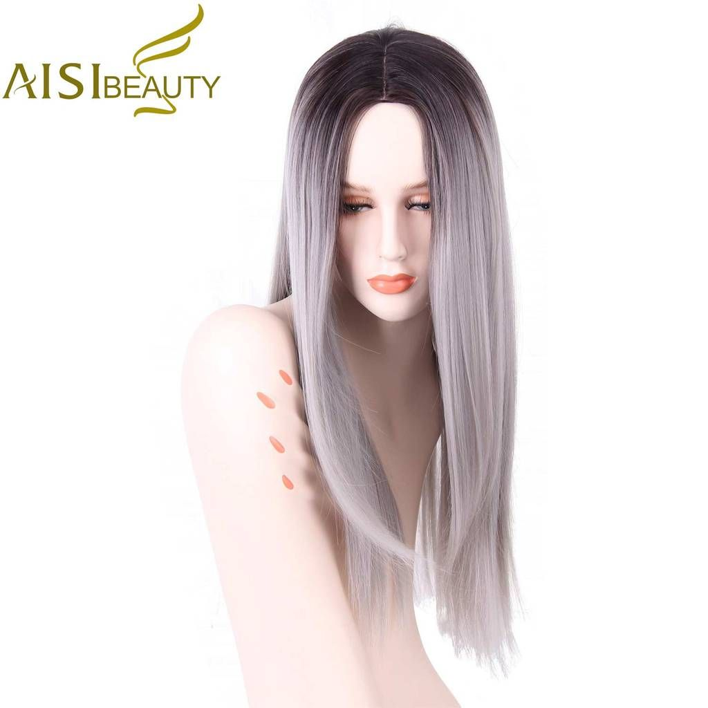 Aisi beauty grey red pink ombre black wig synthetic wigs for women