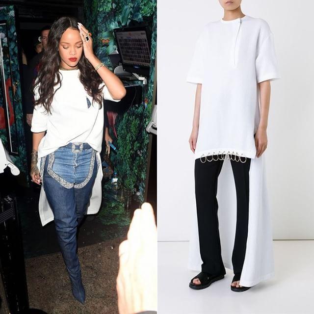 Rihanna in Poet T-shirt dress by @ecortazar.  #EstebanCortazar #ManoloBlahnik #RihannaxManolo #LouisVuitton