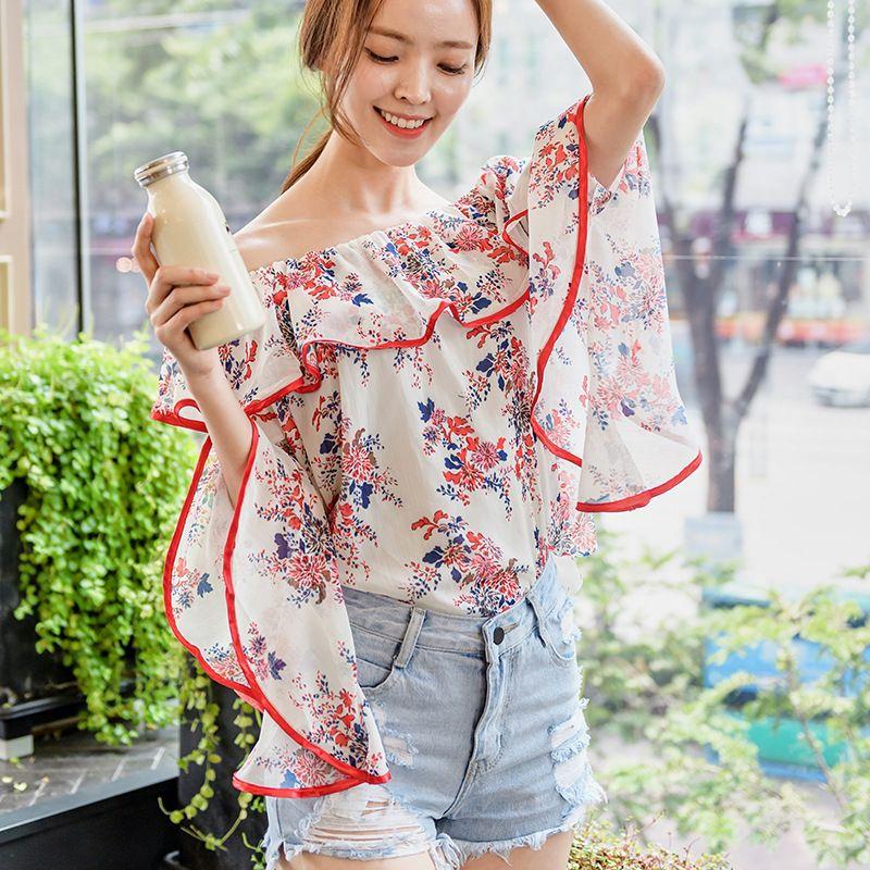 22c411fa836 Kesebi 2017 Autumn Female Korean Style Loose Ruffles Printing Chiffon Shirts  Women Long Slash Neck Flare