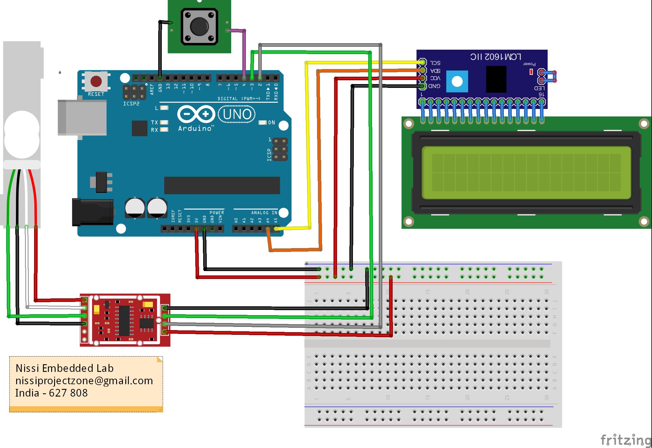 electronic weighting machine Arduino circuit, Arduino