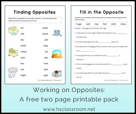 Printables Opposite Worksheets number names worksheets opposite for kindergarten 1000 images about slp synonymantonym