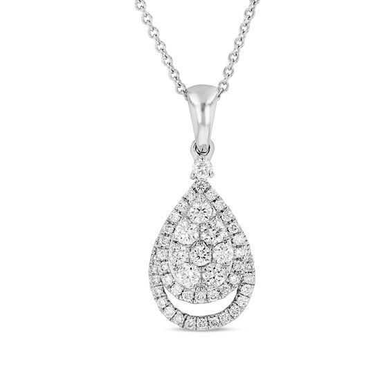 Zales 1/2 CT. T.w. Composite Diamond Double Cushion Frame Pendant in Sterling Silver knqyZt