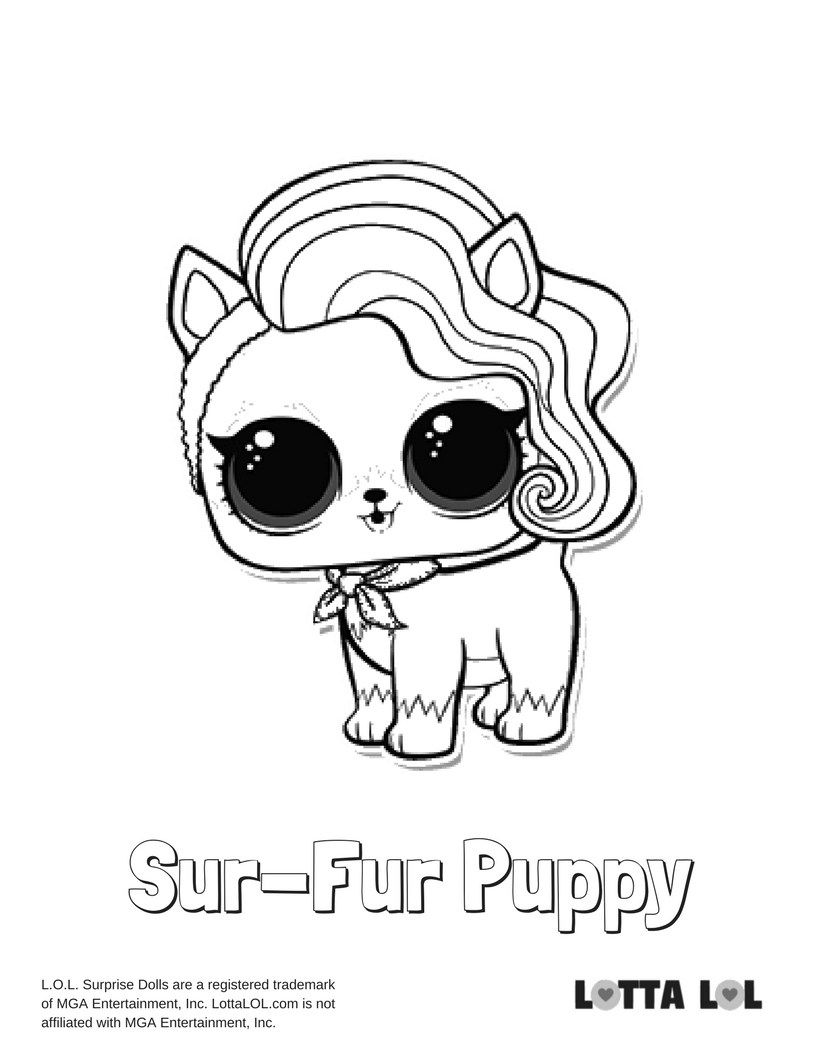 Sur-Fur Puppy Coloring Page Lotta LOL  Puppy coloring pages, Lol