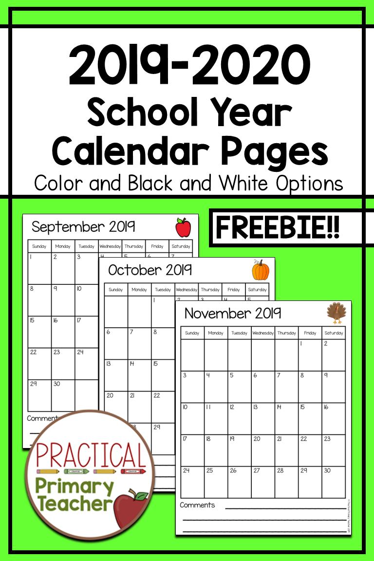 20192020 Calendars FREE School calendar printables