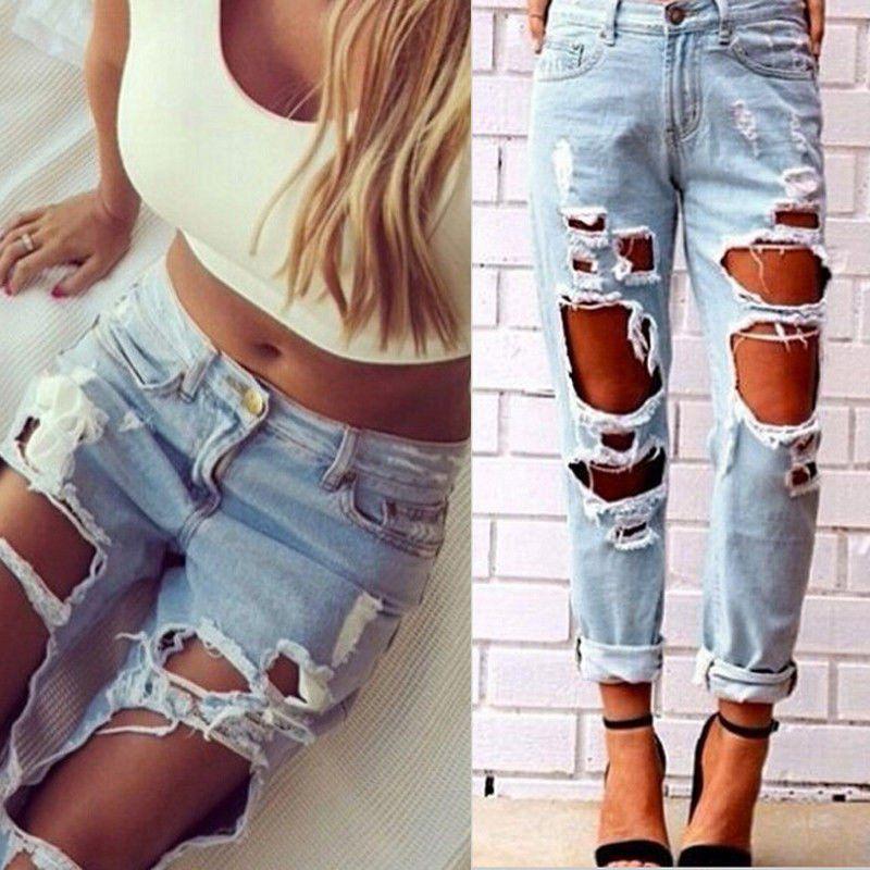 a82e9ff2a43 Destroyed Denim Boyfriend Jeans. Sexy Women Destroyed Ripped Distressed Slim  ...
