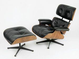 Charles Et Ray EAMES Fauteuil Lounge Chair Ottoman Piètement - Fauteuil lounge eames