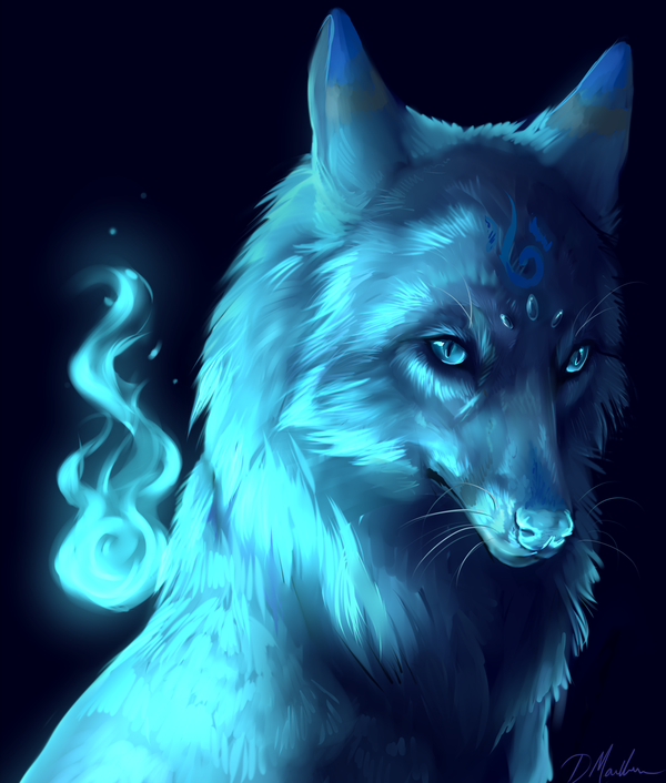 Anime Illustration Anyone Else Think This Is A Female: A Luminous Blue Wolf. Anyone Else Think The Fire Besides