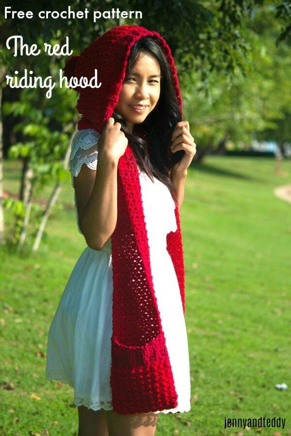 12halloween custome crochet little red riding hood scarf with pocket ...