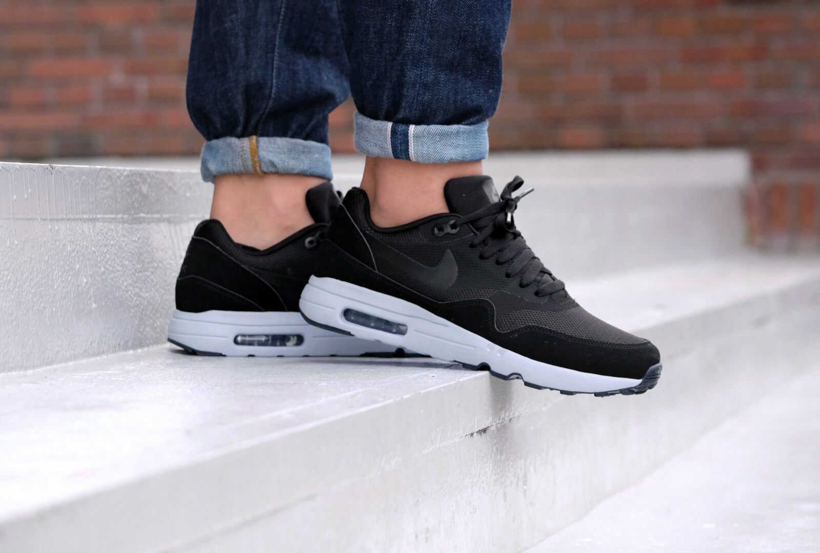 lowest price 980b3 b8f44 Nike Air Max 1 Ultra 2.0 Essential Black Wolf Grey Dark Grey Mens Sale