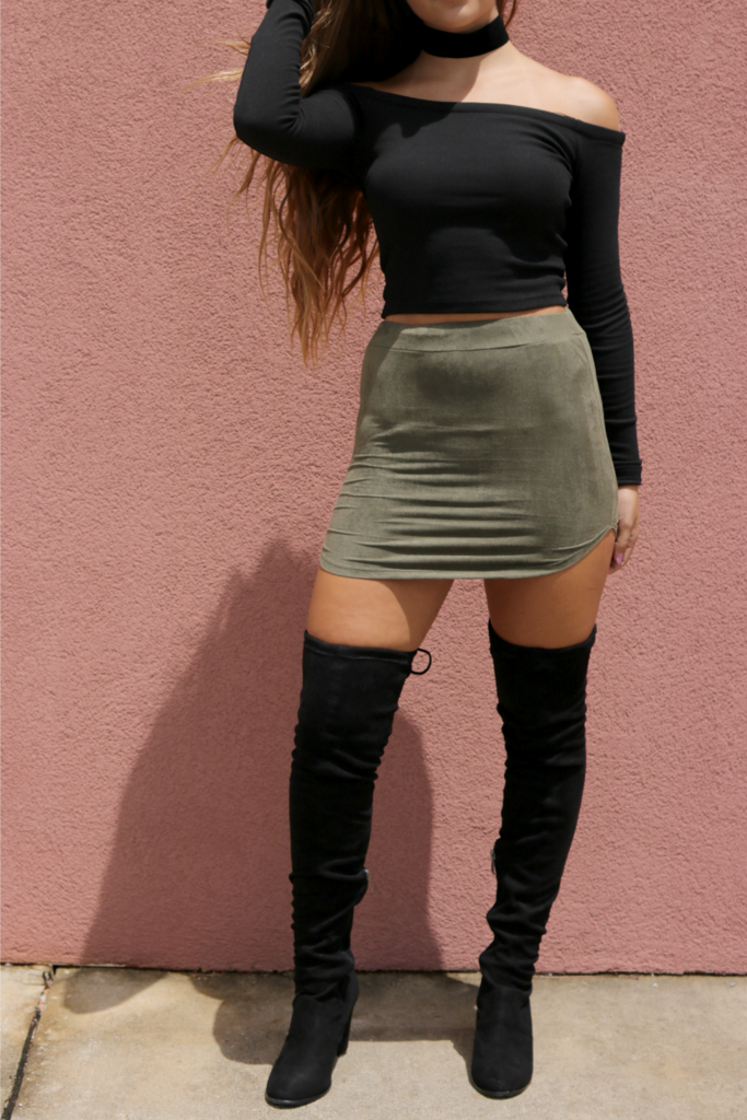 40411aa3dea These chic over the knee boots feature a soft vegan suede material ...