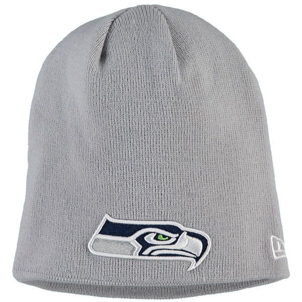 dcad6cf3215 Men s Seattle Seahawks New Era Gray Solid Uncuffed Knit Beanie