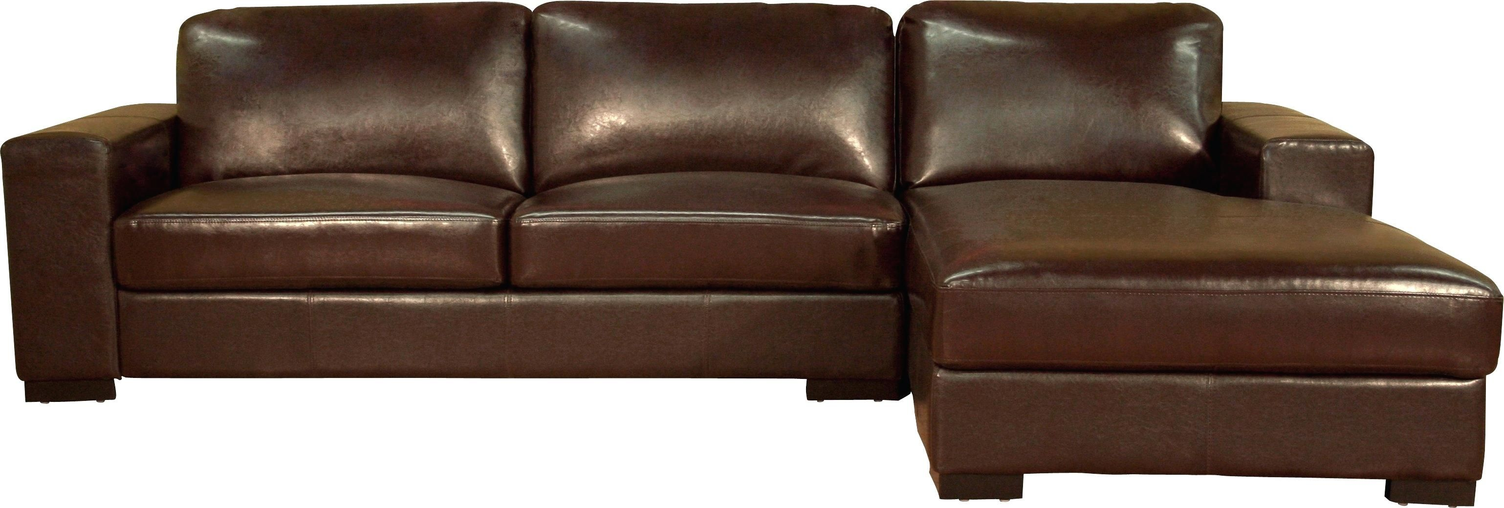 Baxton Studio Callidora Brown Leather Sectional Sofa With Right